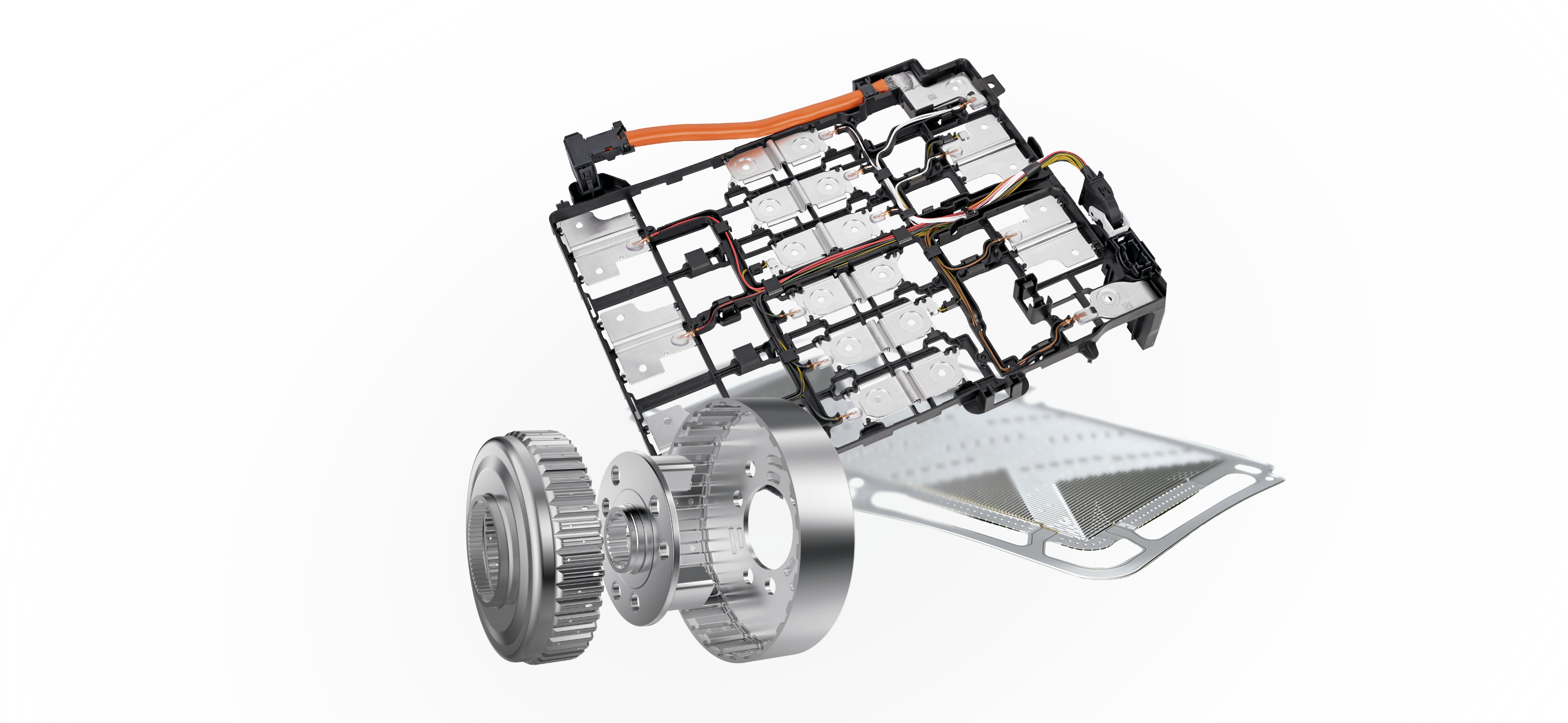 E-mobility components for battery, fuel cell, and EDU.